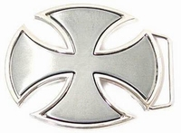 Buckle Iron Cross oval Silver