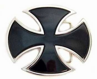 Buckle Iron Cross Oval Black